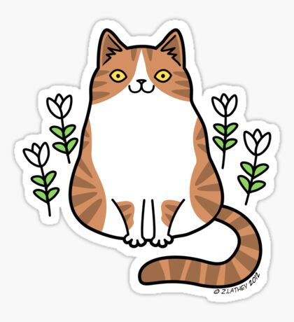 Brown and White Cat with Flowers Sticker