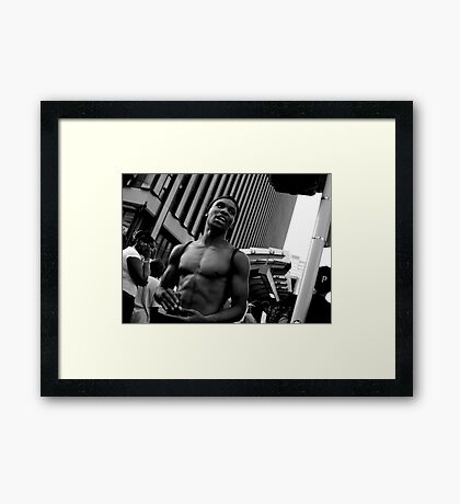 Cell Phones at the Bus Stop Framed Print
