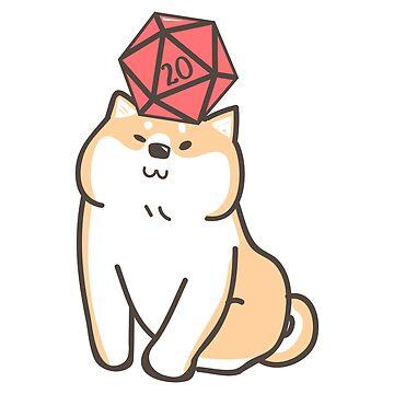 Lindos perros Shiba Inu con dados D20 de pixeptional