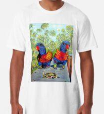 Dinner Date - Rainbow Lorikeets Long T-Shirt