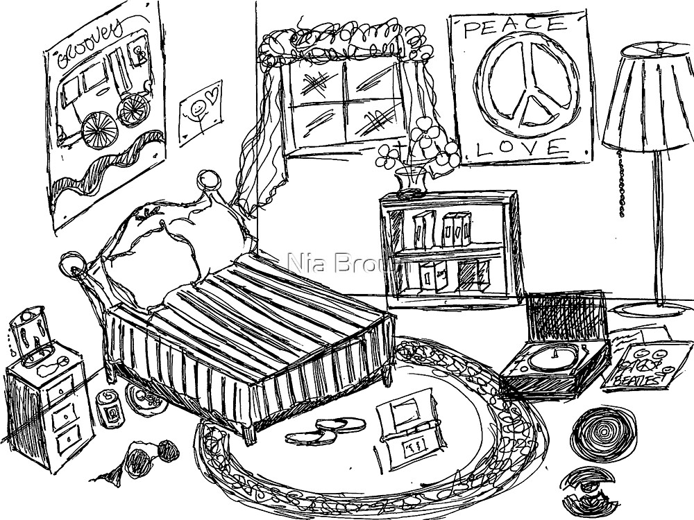 A Teenage Room Drawing Day By Nia Brown Redbubble