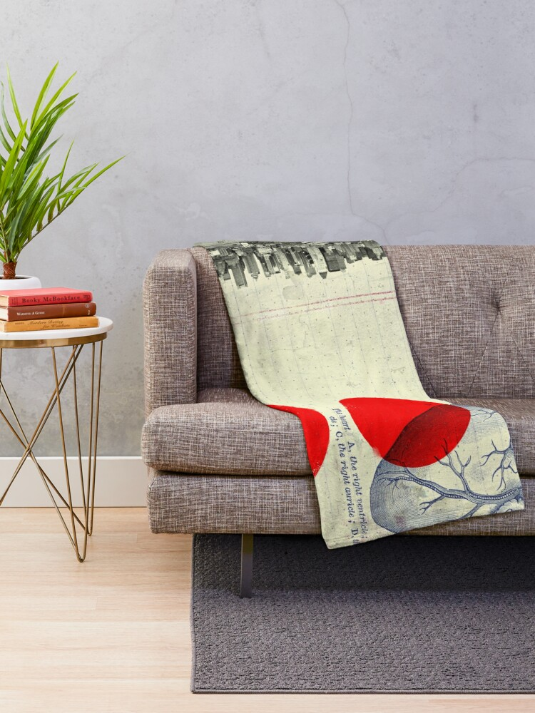 Alternate view of Heart 01 - Modern Abstract Collage Throw Blanket