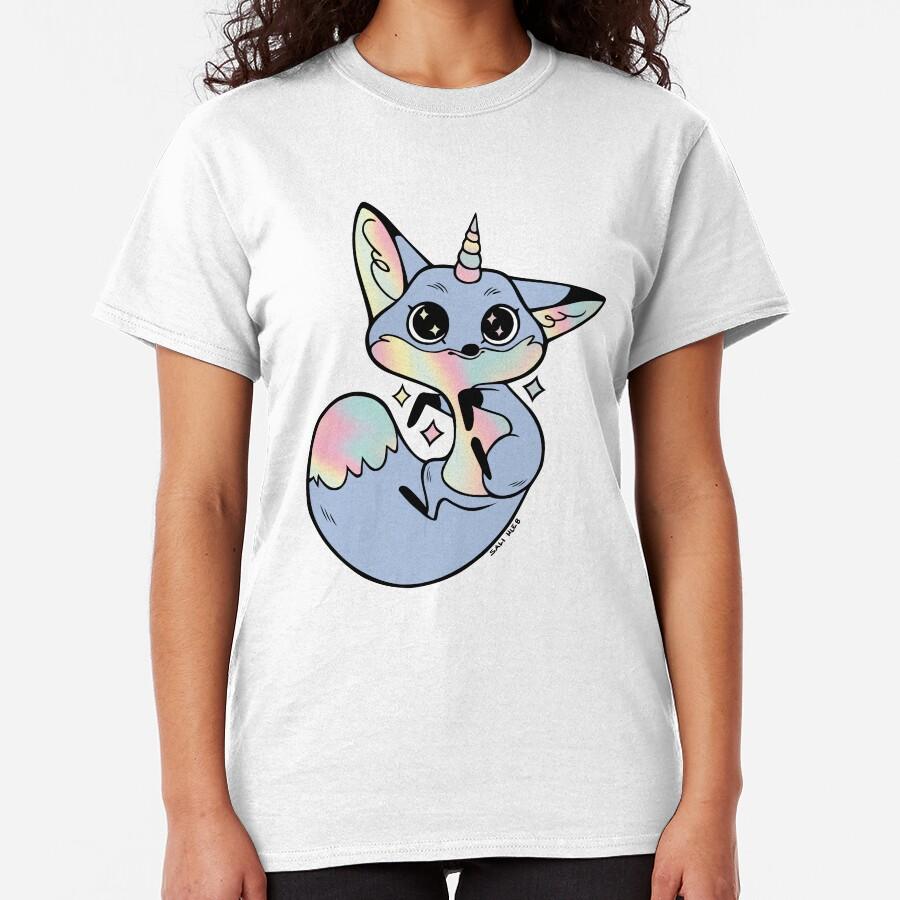 Rainbow unicorn fox Classic T-Shirt