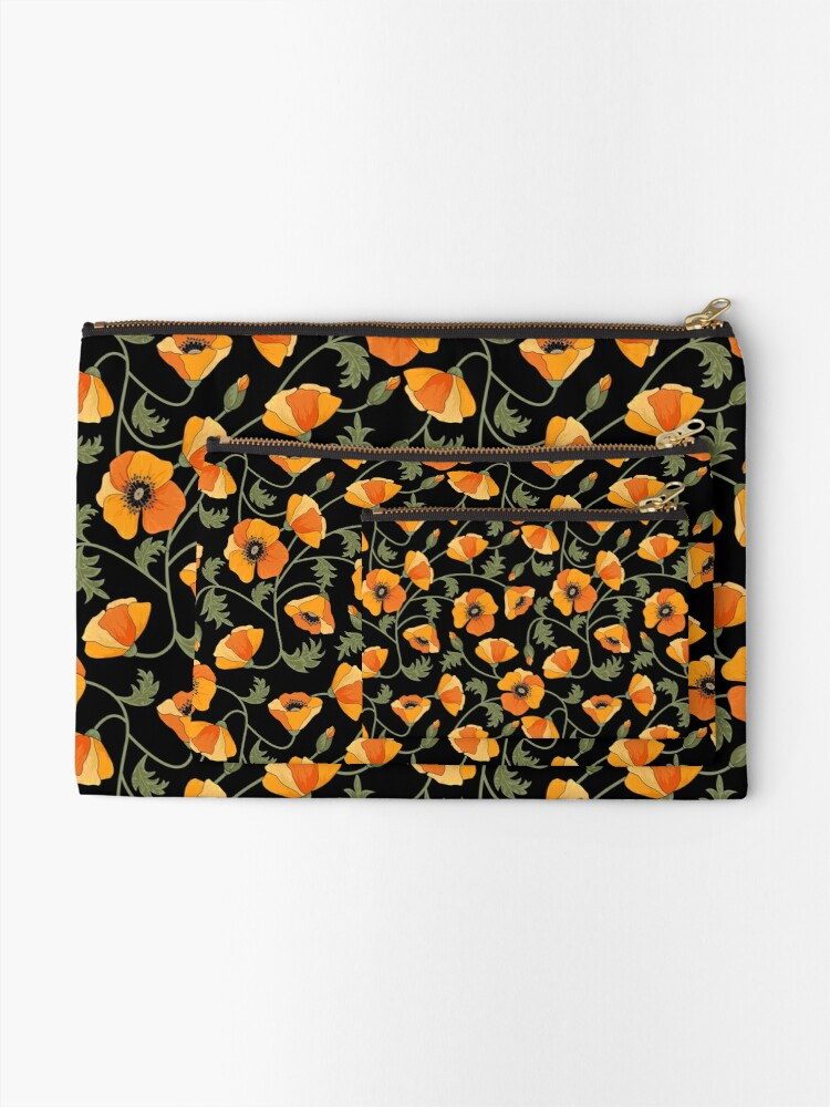 Alternate view of California Poppies Zipper Pouch