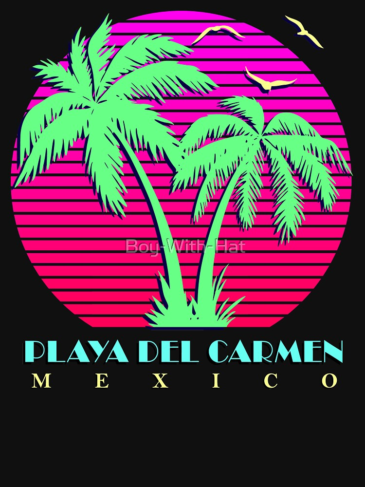 ad8b6de3f1dba8 Playa Del Carmen Mexico Retro Palm Trees Sunset
