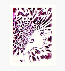 Psychedelic Goddess (Red+Blue) Art Print