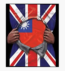 Taiwan Flag Great Britain Flag Ripped - Gift For Taiwanese From Taiwan Photographic Print