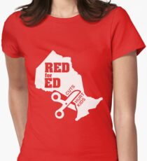 Red For Ed Ontario Cuts Hurt Kids - White Logo Women's Fitted T-Shirt