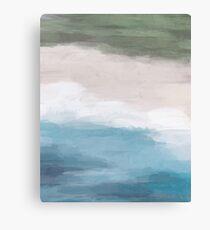 Grass Green Blue Ocean Beige Sand Aerial Abstract Art Modern Painting Canvas Print