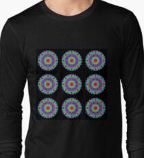 Neon Bright Kaleidoscope On Black - Tiled T-Shirt
