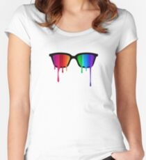 Love Wins! Rainbow - Spectrum (Pride) / Hipster Nerd Glasses Women's Fitted Scoop T-Shirt