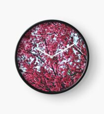 Magical Cherry Blossoms - Dark Pink Floral Abstract Art - Springtime Clock