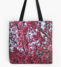 Magical Cherry Blossoms - Dark Pink Floral Abstract Art - Springtime Tote Bag