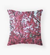 Magical Cherry Blossoms - Dark Pink Floral Abstract Art - Springtime Throw Pillow