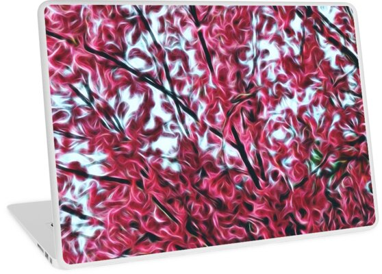 Magical Cherry Blossoms - Dark Pink Floral Abstract Art - Springtime by OneDayArt
