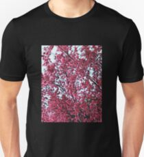 Magical Cherry Blossoms - Dark Pink Floral Abstract Art - Springtime Unisex T-Shirt