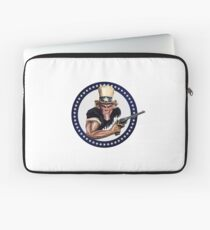Uncle Sam Boldly Holding his Gun - Within Circle and Stars Laptop Sleeve