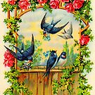 Swallows and Climbing Roses by FieldandGarden