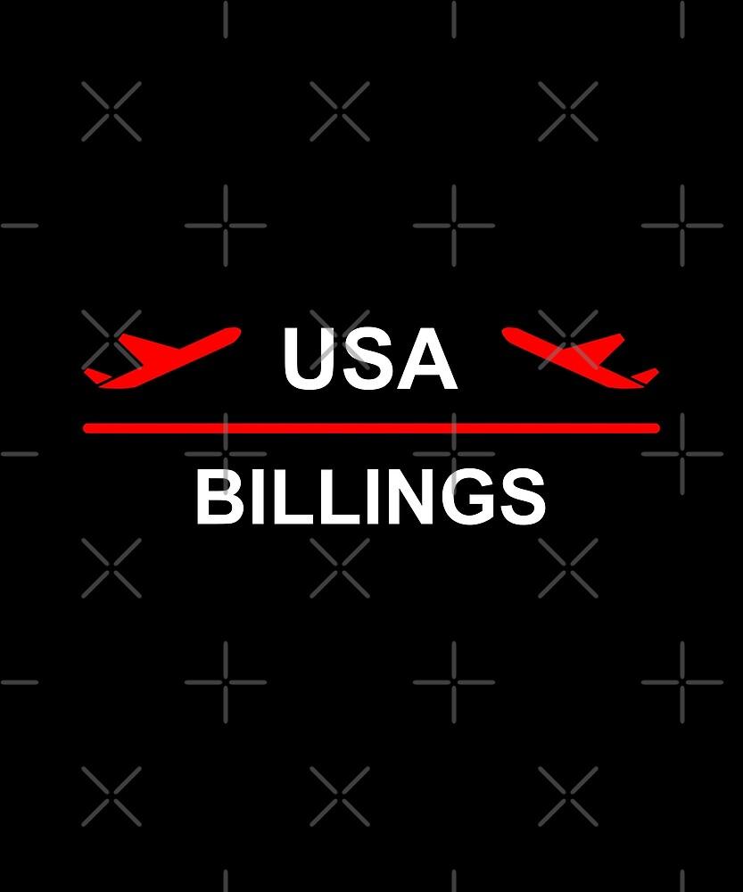 Billings Montana USA Airport Plane Dark Color by TinyStarAmerica