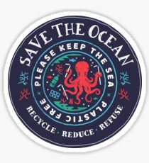 Save the Ocean - Bitte halte das Meer frei - Octopus Scene Sticker