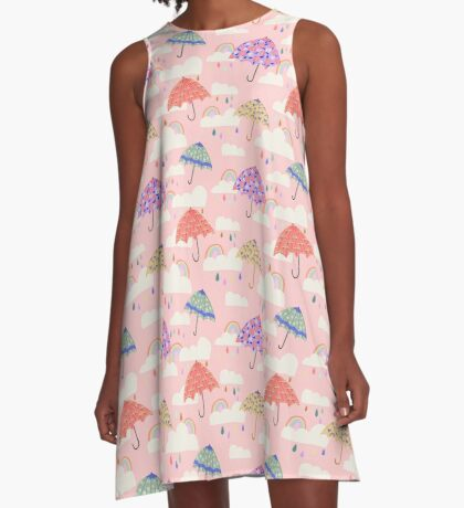 Spring Rain on Pink A-Line Dress