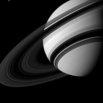 Saturns Rings Cassini Huygens Orbiter Black and White Image by podartist