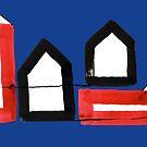 «Dos casas negras y dos rojas en tablero azul» de Istvan Ocztos