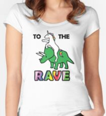 To The Rave! (Unicorn Riding Triceratops) Women's Fitted Scoop T-Shirt