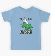 To The Rave! (Unicorn Riding Triceratops) Kids T-Shirt