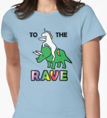 To The Rave! (Unicorn Riding Triceratops) Women's Fitted T-Shirt