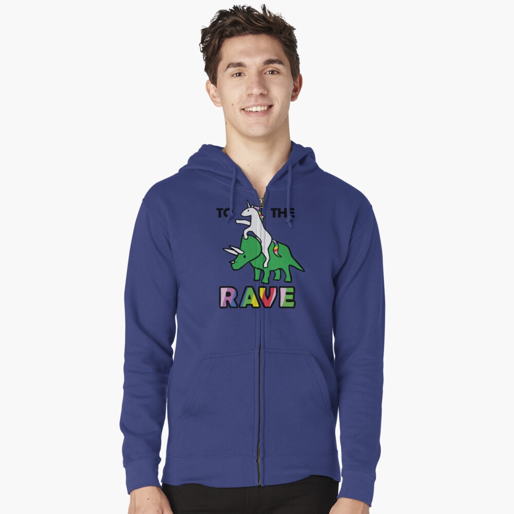 To The Rave! (Unicorn Riding Triceratops) Zipped Hoodie
