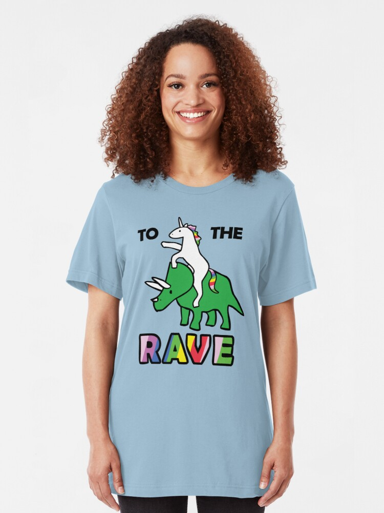 Alternate view of To The Rave! (Unicorn Riding Triceratops) Slim Fit T-Shirt
