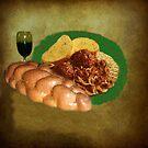 Wine And Pasta Still Life by Linda Miller Gesualdo