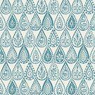 Indische Regentropfen blau von Sharon Turner