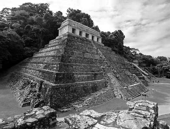 Temple of the Inscriptions - B&W by Zane Paxton