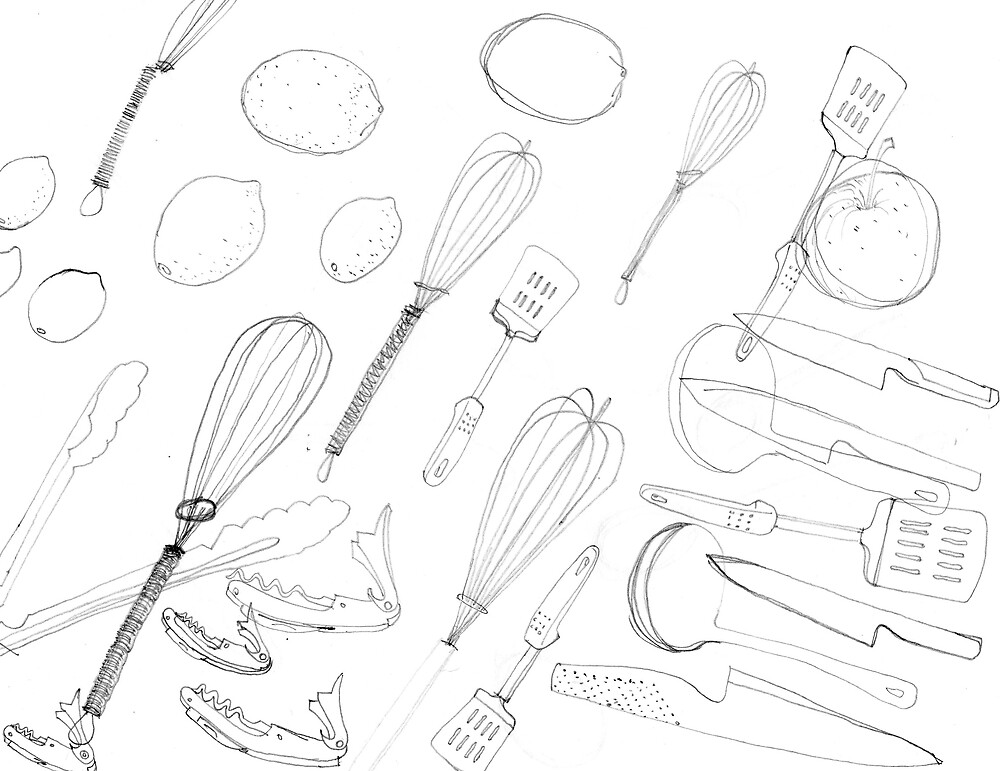 Drawing Day Assorted kitchen utensils 2 by Penny Coia Redbubble
