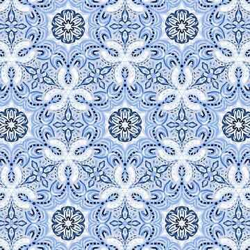 Bígaro con textura azul Boho patrón hexagonal de micklyn