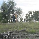 dead tree and 2 girls by Bobby Dar