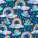 Spring Showers and Rainbow Birds on Navy Blue by micklyn