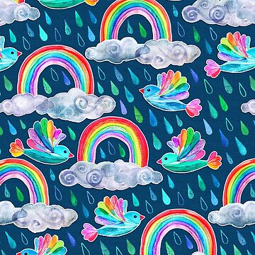 Duchas primaverales y pájaros arco iris en azul marino de micklyn