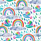 Spring Showers and Rainbow Birds on White by micklyn