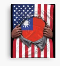 Taiwan Flag American Flag Ripped - Gift For Taiwanese From Taiwan Canvas Print