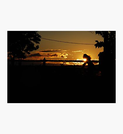 Bicyclist's Silhouette Photographic Print