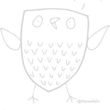 An Owl of Despair Grey print for dark Ts by worldofmoose