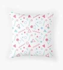 Memphis Pattern Pink / Blue Throw Pillow