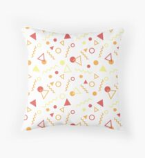 Memphis Pattern - Red Yellow Orange Throw Pillow
