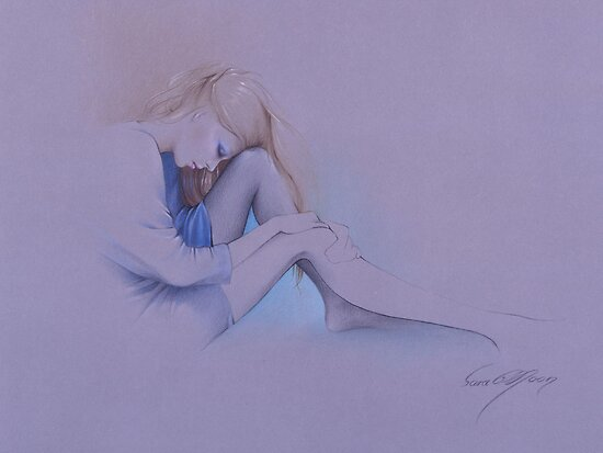 """Blue"" Colour Pencil Artwork by Sara Moon"