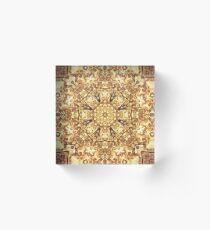 Gold Rush Mandala - Golden Ornate Art Deco Design Acrylic Block