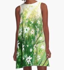 Daisies and Dragonfly A-Line Dress