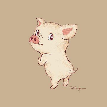 Cerdo lindo mira hacia atrás de sanogawa